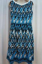 Anne Klein Dress Sz 12 Capri Blue Multi Sleeveless V-Neck Swing Career Cocktail image 3