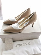 New JIMMY CHOO Romy 60 Suede Pointed Toe Pumps Women's Size 38.5 Nude Pi... - $353.43