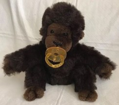 "Vintage Dakin Brown Gorilla Monkey Pacifier 10"" Plush Stuffed Ape Chimp ... - $35.63"