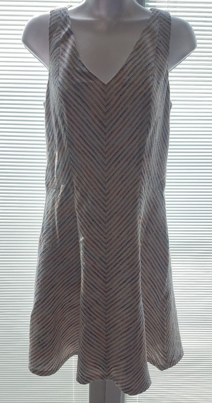 Tommy Hilfiger Women Beige Blue Striped Flare Sleeveless Dress Cotton Blend 8
