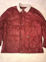 TOMMY HILFIGER ~ Vtg Men's Red Winter Heavy Coat Corduroy Collar Wool Li... - $29.44