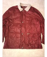 TOMMY HILFIGER ~ Vtg Men's Red Winter Heavy Coat Corduroy Collar Wool Li... - $29.44