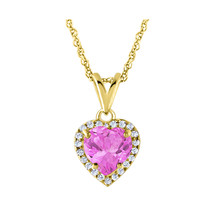 14K Yellow Gold Over Halo Heart Shape Pink Sapphire Pendant Necklace Cha... - $46.74