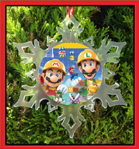 Mario And Luigi Christmas Ornament - X-MAS Snowflake Ornament - Mario Bros - $12.95