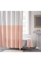 DKNY Shower Curtain Parsons Stripe Gray Red White Cotton Modern Minimali... - $27.69