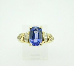 18k Yellow Gold 2.59ct Genuine Natural Tanzanite and Diamond Ring (#J1811) - $2,925.00