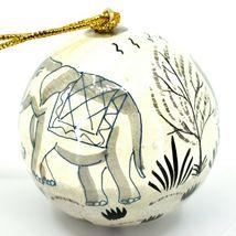 Asha Handicrafts Painted Papier-Mâché Grey Elephant Holiday Christmas Ornament image 4