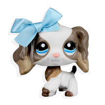 #2254 Rare Littlest Pet Shop White Tan Cocker Spaniel Dog LPS Blue Bowkn... - $20.70