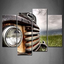 4 Panel Wall Art Old Vintage Truck On The Prairie Painting Pictures Print On Can