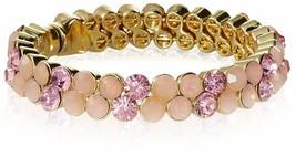 Stella + Ruby Gold Pink Austrian Crystal Magnetic Hinge Bangle Bracelet NWT image 1