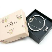 NWT COACH Bow Chain Cuff Stone Embellishment Bangle Cute Bracelet Silver... - $77.22