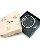NWT COACH Bow Chain Cuff Stone Embellishment Bangle Cute Bracelet Silver... - $77.22