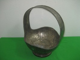 Vintage Round Silver Plated Basket Centerpiece Fruit Holder with Handle - $28.01