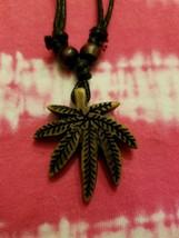 Cannabis Weed Marijuana Leaf Pendant With Adjustable Slide Necklace - $2.99