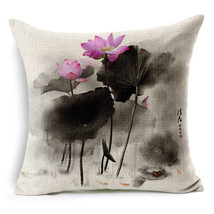 Traditional ink lotus painted fabric linens  back cushion - $7.99