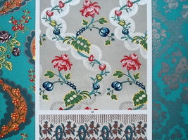 LOUIS XVI Era Silk Fabrics Robes Borders - A. RACINET Color Lithograph P... - $25.20