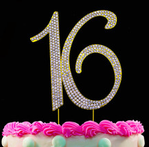 16th Birthday Party Cake Topper Gold Cake Number 16 Sweet Sixteen Cake T... - $14.26