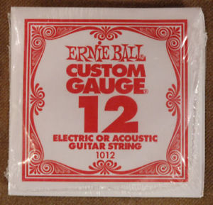 Set of 6 Ernie Ball Guitar Strings Size .012