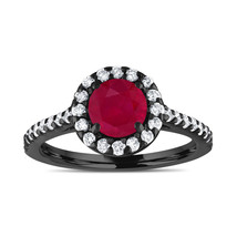 Vintage Ruby Engagement Ring And Diamonds Bridal Ring 1.54 Carat 14K Bla... - $2,350.00
