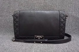 AUTHENTIC CHANEL BLACK CALFSKIN NEW MEDIUM REVERSO BOY FLAP BAG RHW