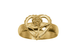 24K Yellow Gold Plated Ring Jewelry Rose Flower Heart LOVE Faith New Jew... - $27.61