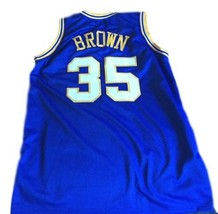 Roger Brown #35 Indiana Aba Retro Basketball Jersey New Sewn Blue Any Size image 2