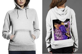 Classic Hoodie White women Purple Rain On Guitar - $28.99