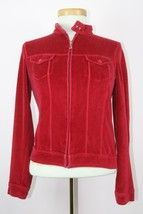 Red Juicy Couture Full Zip Jacket With Two Pockets Collared Sz Medium - $13.94