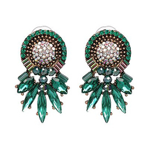 Hot Brand Wedding Earrings Green Dangles Women Female Fashion Shiny Jewe... - $9.99