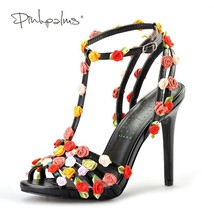 floral heel shoes handmade Palms Pink custom sandals high summer black women sw xqI44YZC