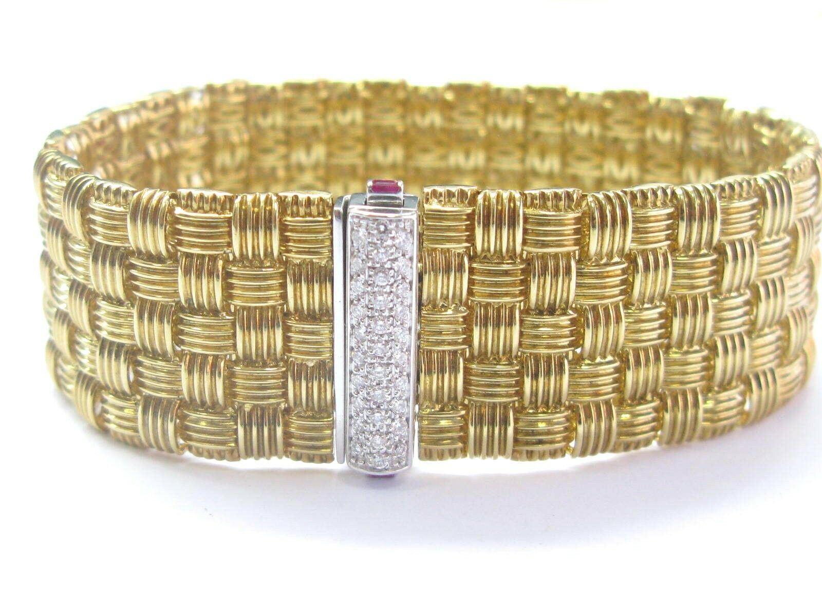 Roberto Coin 18Kt 5-Row Yellow Gold Appassionata Diamond Bracelet .39Ct