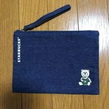 Taiwan Starbucks Limited Bearista Denim Flat Pouch - $44.97