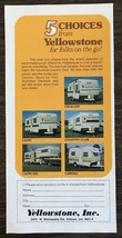 1974 Yellowstone Inc Elkhart IN Travel Trailers Ad 5 Choices for Folks o... - $9.95