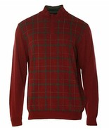 Tasso Elba Men's Red Velvet Shawl Grid Mock Neck Knit Pullover Sweater - $19.99