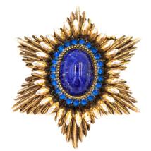 Benedikt NY Glass Cabochon Rhinestone Brooch in Mid Century Starburst De... - $78.00