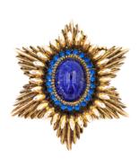Benedikt NY Glass Cabochon Rhinestone Brooch in Mid Century Starburst De... - £61.24 GBP