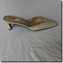 Etienne Aigner Cream Leather Pointed Slip on Heel Mule Shoe 7.5 - $27.01