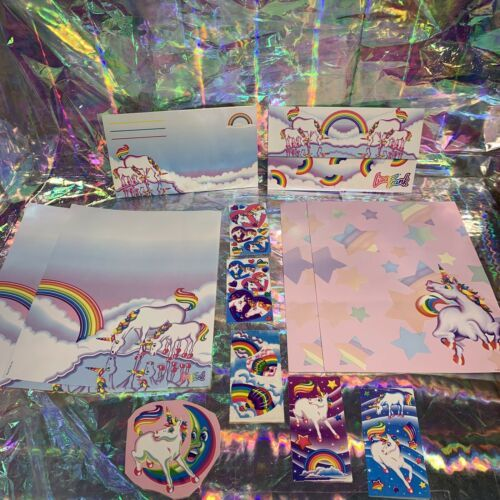 ⚡️SALE  Markie The Unicorn Lisa Frank Stationery Lot  Postalettes Stickers
