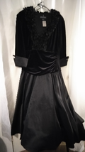 Jessica Howard Evening Ruffled Collard Black Dress Sz 14 - €54,37 EUR