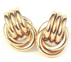 Vintage Clip On Earrings Polished Ribbed Style Goldtone Metal - $8.99