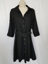 Ann Taylor Black Size 4 Belt Shirt Dress 3/4 Sleeve Pockets Unlined Wome... - $1.391,52 MXN