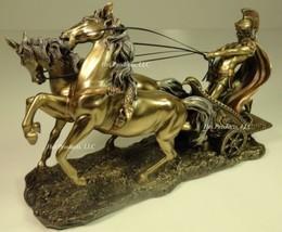 ROMAN GLADIATOR CHARIOT Sculpture Statue Antique Bronze Color - $70.88