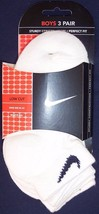 NEW NIP Nike Swoosh Boy's White Low Cut Socks 3 Pair, Sock Size 7-8.5 - $10.99