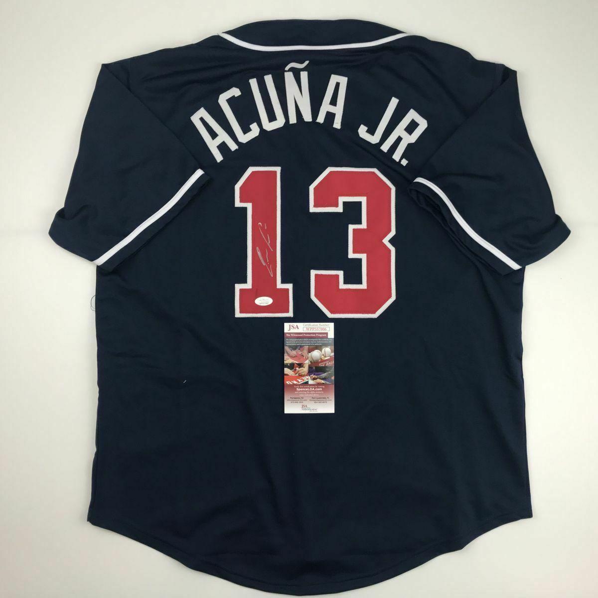Autographed/Signed RONALD ACUNA JR. Atlanta Blue Baseball Jersey JSA COA Auto image 2