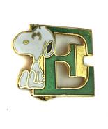 """Vintage Aviva Snoopy """"E"""" Metal Enamel Pinback United Features Peanuts Ta... - $7.87"""