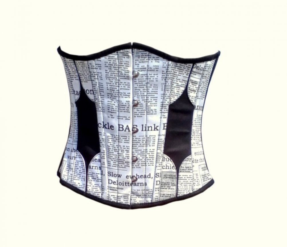 Newspaper Print Waist Cincher Gothic Burlesque Bustier Underbust Corset Costume