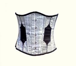 Newspaper Print Waist Cincher Gothic Burlesque Bustier Underbust Corset ... - $69.99