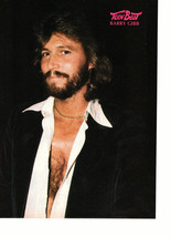 Bee Gees Barry Gibb teen magazine pinup clipping open shirt 1970's at night