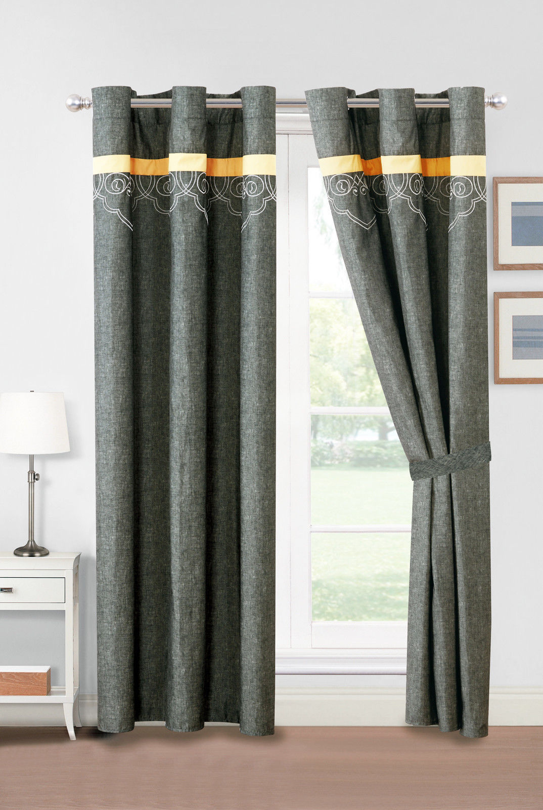 4P Adeline Geometric Floral Tetrafoil Embroidery Curtain Set Antique Gray Yellow - $40.89