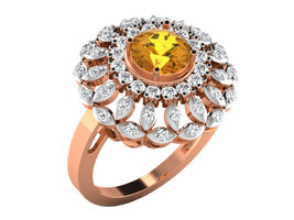 0.83Ct Round Cut Citrine & D/VVS1 Diamond Engagement Ring In 14KT Rose G... - $148.96